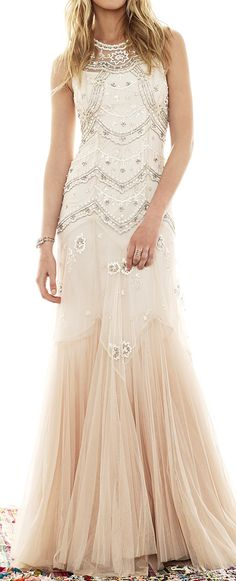 Beaded tulle gown - not exactly what I'm looking for, but love the ombre, tulle, and lace.