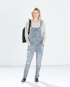 Image 1 of RIPPED DENIM DUNGAREES from Zara