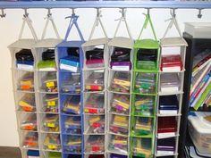Wonderful Idea....Shoe Hanger Storage for Student or Teacher stuff! :)