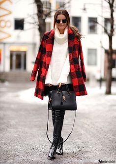 Red And Black Check Coat # Trends Of Winter Apparel Check Coats Coat Red And Black Coat Clothing Coat 2015 Coat Outfits Coat How To Style Plaid Coat, Plaid Jacket, Fall Winter Outfits, Autumn Winter Fashion, Winter Style, Plaid Fashion, Moda Online, New Outfits, Street Style