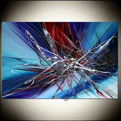 LARGE Acrylic BLUE painting Red abstract art by largeartwork