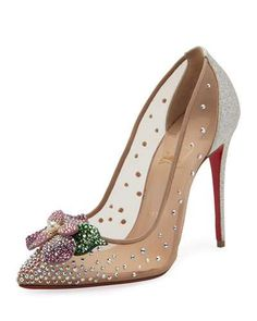 X3KKH Christian Louboutin Feerica Crystal-Embellished Red Sole Pump