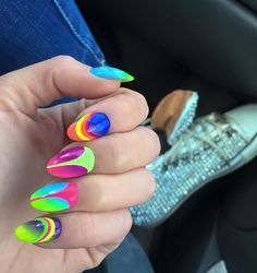 Neon Nails by Indigo Educator Paulina Walaszczyk #nails #nail #indigo #‎nofilter‬ #ombre #neon #design #wow #omg