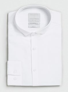 PREMIUM WHITE CUTAWAY COLLAR LONG SLEEVE SMART FOLDED SHIRT