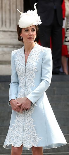 Catherine Walker pale blue overlay coatdress. Click for more info