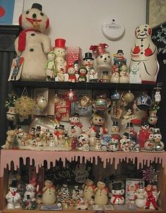A wonderful collection of vintage snowmen and Christmas ornaments... <> (Xmas, retro, yesteryear, decor, decorations)