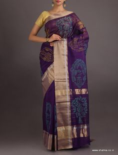 Drishti Dark Purple In Block #ChanderiBlockPrintedSaree