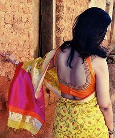 30 Latest Blouse Back Neck Designs In 2019 Blouse Back Neck Designs, Saree Blouse Designs, Sari Blouse, Sleeveless Blouse, Saree Jackets, Designer Blouse Patterns, Bodysuit Fashion, Indian Beauty Saree, Sarees