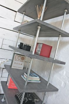 Reclaimed Grey-washed Scaffolding Boards and Galvanised Steel Pipe Shelving/Bookcase - Urban Storage, Bespoke Industrial Shelving System