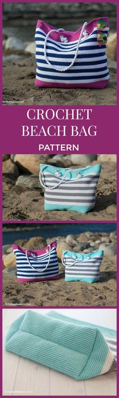This bag is so cute! Useful for lots of things. Crochet Beach Bag Pattern, Tote Bag Crochet (Classic Beach Bag Crochet Pattern by Little Monkeys Crochet) Beach Tote Crochet PDF, Instant Download #affiliate