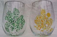 Handpainted Aspen Tree Stemless Glasses