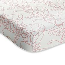 image of aden + anais® Crib Sheet in Pink Tranquility Leafy
