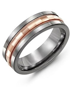 Men's Baguette Diamond-Cut Wedding Ring in Tungsten and Rose Gold from the Most Wanted Collection Mens Gold Jewelry, Mens Silver Rings, Gold Jewellery, Men Rings, High Jewelry, Body Jewelry, Jewelry Shop, Or Rose, Rose Gold