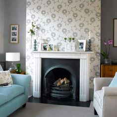 Create a stylish focal point in your living room in just a few hours with our step-by step guide to wallpapering a chimney breast Chimney Breast Decor, Chimney Decor, Feature Chimney Breast, Feature Wall Living Room, New Living Room, Living Room Decor, Dining Room, Feature Walls, Wallpaper Fireplace