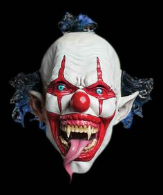 The snake tongue evil clown Halloween mask is manufactured from latex and one size fits most. The evil clown Halloween mask is a overhead latex mask with attached hair and is designed to scare the living to death. Evil Clown Mask, Gruseliger Clown, Scary Mask, Creepy Clown, Evil Clowns, Creepy Dolls, Funny Clowns, Halloween Clown, Scary Halloween Decorations