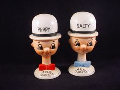 Vintage Anthropomorphic Salty Peppy Egg Cups with Salt Pepper Tops
