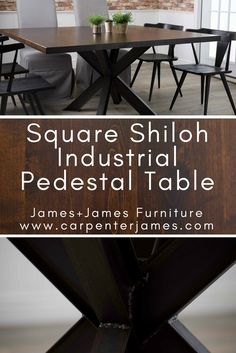 Learn more about the Square Shiloh Industrial Pedestal Table from James+James Square Dining Tables, Dining Table In Kitchen, Dining Room, Pedistal Table, Particle Board, Furniture Inspiration, Wooden Tables, Custom Furniture, Contemporary Style