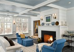 love the painted bead board ceiling, perfect blue