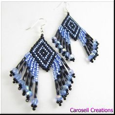 Beadwork Seed Bead Earrings Blue Diamond Maze TAGE - Earrings, Beaded, carosell creations, native american, seed bead earring beadwork earrings seed beaded, beaded, shiny, indian, jewelry, blue, crystals, maze, ladies, women, accessories, etsy, handmade