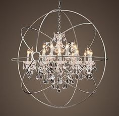 Extra large orb for the living room in brush nickel orb chandelier foucaults orb crystal chandelier from exquisite chandeliers aloadofball Image collections