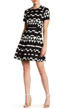 Image of Nicole Miller Geometric Fit & Flare Dress