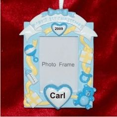 Baby's 1st Christmas Loving Hearts Photo Frame, Blue - Personalized First Christmas Ornament