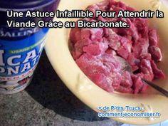 Il existe une astuce infaillible pour attendrir la viande et lui offrir un moelleux incomparable. Boeuf, porc ou autres viandes vont retrouver toute leur saveur et leur tendresse grâce au bicarbonate.  Découvrez l'astuce ici : http://www.comment-economiser.fr/attendrir-viande-bicarbonate.html?utm_content=buffer5bb63&utm_medium=social&utm_source=pinterest.com&utm_campaign=buffer