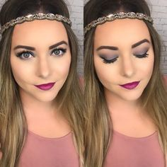 Gray eye and berry lip look.