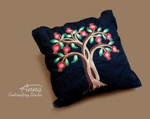 Pomegranate tree. Design for embroidery machine. 257mm/278mm. Split design for a smaller hoop.