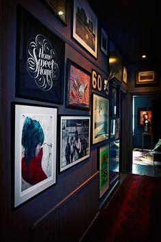 Looking for hallway decorating ideas? Here are a few great ideas from interior designer Abigail Ahern to help you change your hallway. Hallway Colours, Dark Hallway, Hallway Art, Small Hallways, Decoration Inspiration, Decor Ideas, Room Ideas, Dark Walls, Dark Interiors