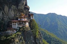 Taktsang Palphug Monastery (also known as The Tiger's Nest), a prominent Himalayan Buddhist sacred site and temple complex, located in the cliffside of the upper Paro valley, Bhutan.