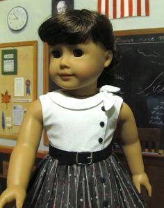 Side Tie Collar dress made to fit American Girl Dolls | by Keepersdollyduds