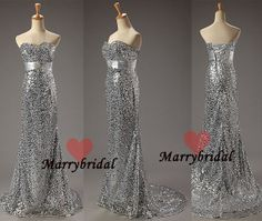 Stunning Strapless Sweetheart Mermaid Silver Sequins prom dresses,New Cheap Beautiful Formal Silver Sequins Mermaid evening dresses, MB0023 on Etsy, $89.99