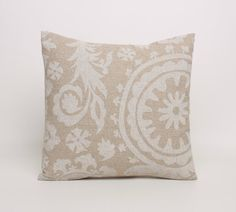 Beige Throw Pillow Cover 20x20 Pillow Covers in Beige and Cream Tan Pillow Cover Beige Accent Pillow Shams Cushion Cover Cloud Denton Suzani on Etsy, $20.45 CAD