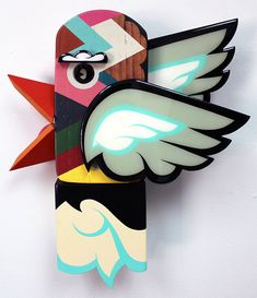 'Ascender II' by Alex Yanes. Find out more about Alex and see more of his awesome art at wowxwow.com (assemblage, painting, characters, spray paint, hip-hop, miami, mixed media, sculpture, skateboard, tattoo, text, typography, whimsy, whimsical, urban)