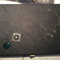 """Necklace 18"""" fun necklace with brushed silver tone and green dual drop Jewelry Necklaces"""