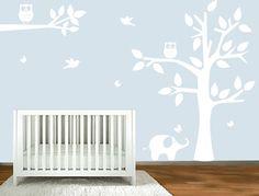nursery wall art - Tree, Tree Branch,Owls, Elephant, butterflies, birds vinyl wall art decor