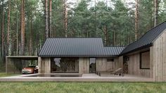 House in woods Prefabricated Houses, Prefab Homes, Timber House, Wooden House, Casas Containers, Forest House, House In The Woods, Exterior Design, Modern Farmhouse