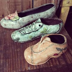 Handpainted ceramic shoes , one of a kind , for exhibition by Patch Nyork ( on 29 oktober in Boston) Collaboration with Astier de Villatte.