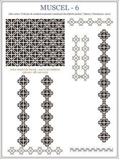 Folk Embroidery Patterns maria - i - panaitescu - ie MUSCEL pixels Embroidery Motifs, Learn Embroidery, Machine Embroidery Patterns, Vintage Embroidery, Embroidery Designs, Cross Stitch Borders, Cross Stitch Patterns, Blackwork, Antique Quilts
