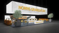 204 Straßenbaumaschinen Norris Granulators | Auffallender Messestand für einen Hersteller von Straßenbaumaschinen.   Das abgehängte Leuchtelement, bedruckt mit Firmenlogo, macht den großen Ko...