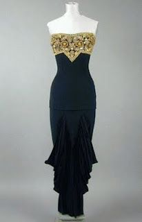 Gilbert Adrian strapless beaded vintage dress