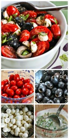 Recipe for Tomato, Olive, and Fresh Mozzarella Salad with Basil Vinaigrette from…