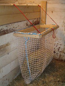 Homemade Horse Slow Feeders for Hay Horse Slow Feeder, Hay Feeder For Horses, Horse Pens, Feeding Goats, Horse Hay, Horse Shelter, Farm Plans, Horse Ranch, Horse Stalls