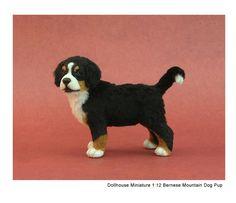 Berner puppy miniature sculpture of polymer clay & alpaca fibers by Kerri Pajutee