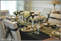 love this glam thanksgiving table with gold and black chevron Honey We're Home: Our Thanksgiving Table (2011)