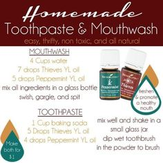 Homemade all natural toothpaste and mouthwash using Young Living essential oils from Too Much Time on My Hands copy Yl Essential Oils, Young Living Essential Oils, Essential Oil Blends, Yl Oils, Homemade Mouthwash, Homemade Toothpaste, All Natural Toothpaste, Dental, Coconut Oil