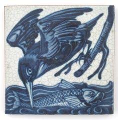 Woolley and Wallis - New Record Price for William De Morgan tile William Morris, Morgan Blue, Antique Tiles, Victorian Tiles, Art Nouveau Tiles, Fish Design, Arts And Crafts Movement, Decorative Tile, Kingfisher