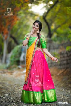 Beautiful pink color lehenga with parrot green color big boarder. Parrot green color designer blouse and mustard color net duapatta. Blouse with hand embroidery work. Lehenga Saree Design, Half Saree Lehenga, Saree Gown, Kids Lehenga, Lehenga Designs, Saree Blouse, Anarkali, Indian Bridal Lehenga, Indian Bridal Fashion