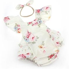 White and PinkTiny Rose Romper. Department Name: BabyItem Type: RompersFit: Fits true to size, take your normal sizeGender: Baby GirlsMaterial: Cotton,Polyester